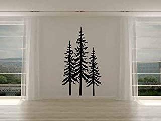 Pine Evergreen Trees Set of Three Vinyl Wall Decal Sticker
