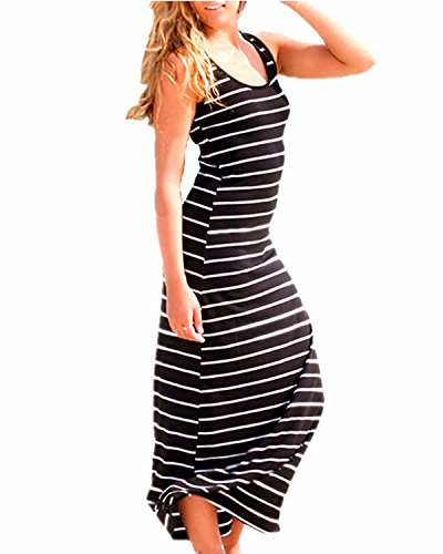 ZANZEA Women Stripe Maxi Dress Sexy Sleeveless Casual Elegant Party Beach Long Tank Dress Sundress Black US 12