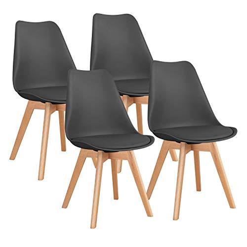 Homall 4er Set Esszimmerstühle mit Massivholz Buche Bein Küchenstuhl Polsterstuhl mit Beinen aus Massiv-Holz Retro Design Gepolsterter, Schwarz