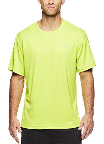 Reebok - Camiseta de entrenamiento para hombre, diseño de cuello redondo con material de rendimiento - REM171TS01VF054, XL, verde lima, jaspeado (Lime Punch Heather)