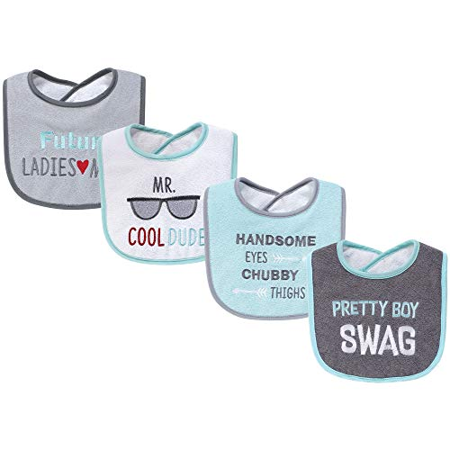 Hudson Baby Unisex Baby Cotton Terry Drooler Bibs with Fiber Filling, Pretty Boy Swag, One Size