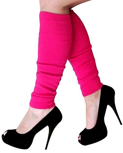 Erbwear® - Scaldamuscoli da donna Legwarmers sopra il ginocchio lavorato a maglia anni 80 anni '80 1 fucsia. Taglia unica