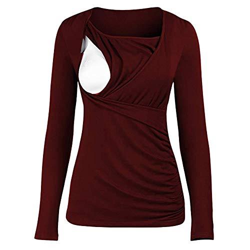 SANFAHSION Shirt de Maternité,Manche Longue de Grossesse Blouse d'allaitement Brassière Top Col Ronde Mode Vêtement Slime Shirt Confortable(Rouge,L)