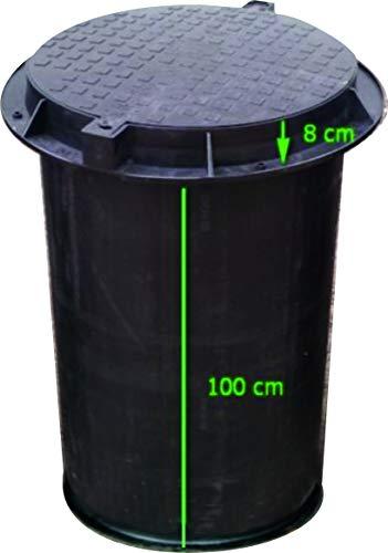 Brunnenschacht, Verteilerschacht, Kontrollschacht, Revisionsschacht, Erdschacht aus Kunststoff komplett mit einem abschließbaren Deckel mit Boden Belastung bis 1,5 t, Schwarz