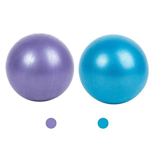 Mini palla da pilates anti-scoppio e extra spessa 25 cm, palla professionale per esercizi palestra, fitness, yoga, equilibrio, 2 pezzi (blu e viola)