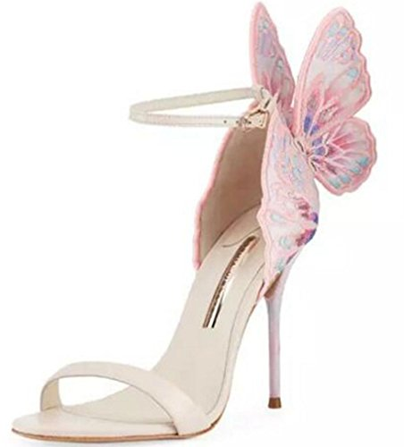 HYLM Exquisite Damen Sandalen High-End-Premium-Klasse Schmetterling Flügel High Heels Brautkleid Schuhe Party Schuhe, 36, pink