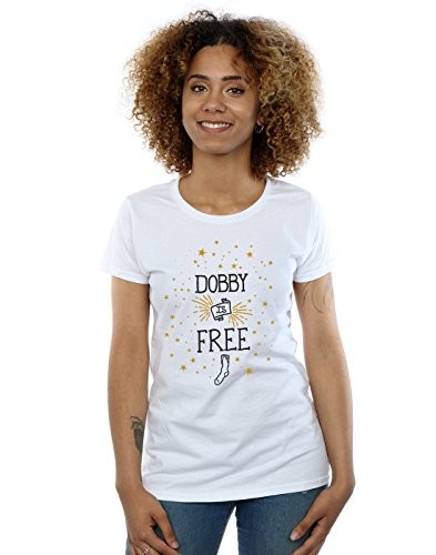 HARRY POTTER Mujer Dobby Is Free Camiseta Medium Blanco