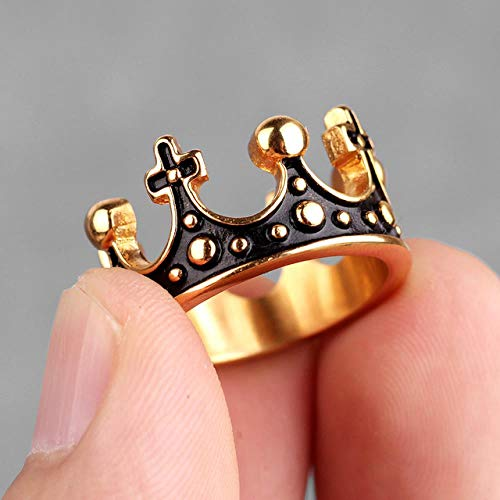 LMKAZQ Stainless Steel Royal Crown Black Gold Silver Rhinestone Men's Ring Titanium Jewelry Gift, 10,R084C-Gold