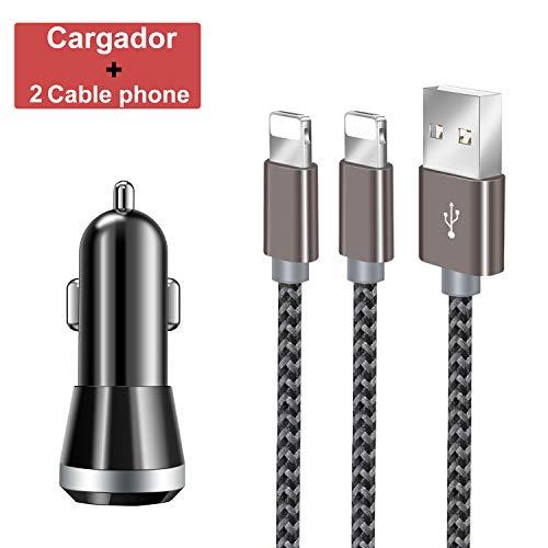 Zeuste Cargador de Coche,Cargador de Mechero 90W 12V / 24V con Encendedor de Cigarrillo y Doble USB(QC 3.0 + 2.4A),[2 Packs 1.5M] Cable Phone para Phone XS/XR/X/8/8 Plus/7/6s/6Plus/6/Pad