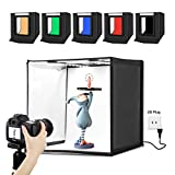 Portable Photo Studio Box - PULUZ 16 inch 40cm Portable Photography Light Tent, Professional Foldable Shooting Lighting Softbox with 2x32 LED Lights & Three-Color Backdrops for Product Display