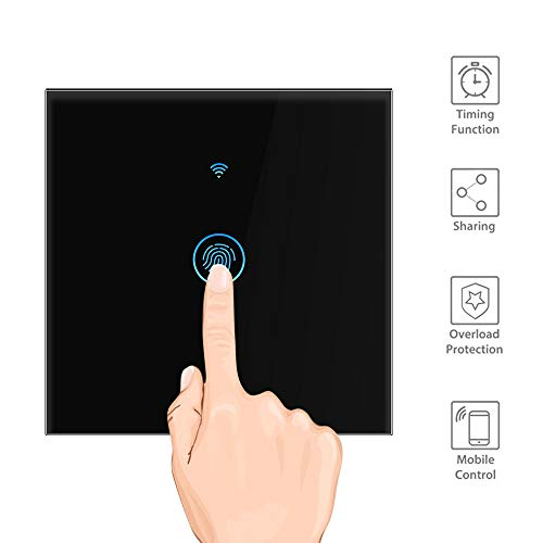 Interruptor de pared Wi-Fi Touch Smart Switch Temporizador Mando a distancia Sensor Interruptor de Pared Trabajo con Amazon Alexa Google Home APP Control, negro