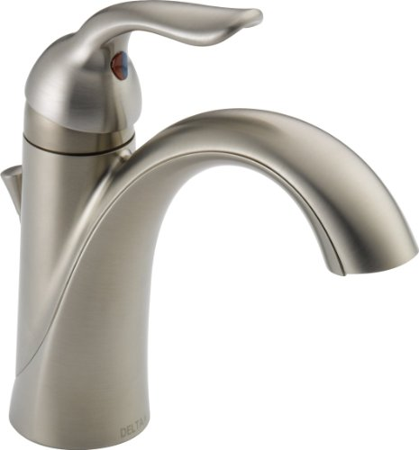 Delta Faucet Lahara Single Hole Bathroom Faucet Brushed Nickel, Single Handle Bathroom Faucet, Diamond Seal Technology, Drain Assembly, Stainless 538-SSMPU-DST