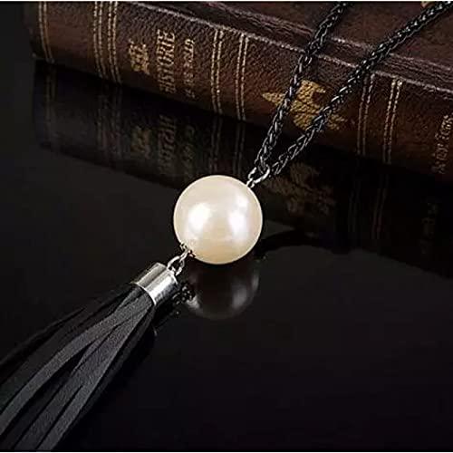 Chenfeng Collares Mujer Joyas Encantador Collar con Colgante de Borla de Cuero con Cadena Larga con Cuentas para Mujer, joyería de Perlas de imitación para Oficina, Regalos, bisutería Regalo