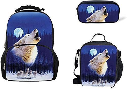 Wolf Backpack, 3D Animal School Bag Backpack with Lunch Bag Pencil Case