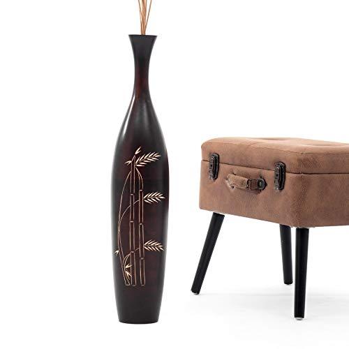 Leewadee Grande Vaso da Terra: Vaso Alto, Elemento Decorativo Fatto a Mano in Legno Esotico, Vaso per per Rami Decorativi, 75 cm, Marrone