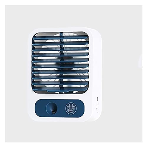 Ventilador Pequeño, Compacto Y Silencioso, Portátil, Velocidad De Viento Fino De Tres Velocidades, Neblina De Agua, Suministro De Aire De Gran Angular, Sin Batería, (Color : White)