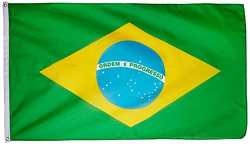 Supportershop Brésil - Banderín de córner para fútbol, Color Amarillo/Verde, Talla 1,50 x 0,90 m