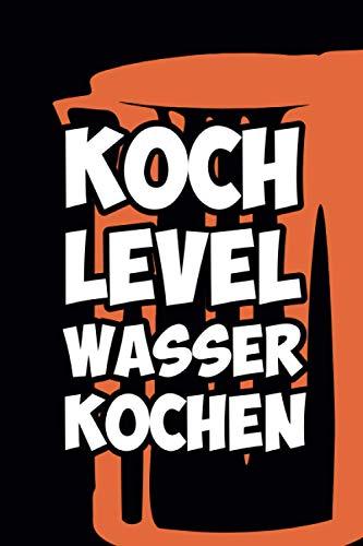 Kochlevel Wasserkocher: schwarzes Notizbuch Rezeptebuch Kochmütze Hobby Koch kochen Leeres Notizbuch Tagebuch Rezeptebuch DIN A5 120 punktiert-linierte Seiten