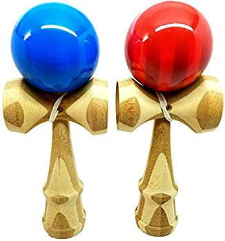 KENDAMA TOY CO 2 PACK - The Best Kendama For All Kinds Of Fun  full size  - Awesome Colors  Blue/Bamboo Red/Bamboo Set - Solid Bamboo Wood - A Tool To Create Better Hand And Eye Coordination