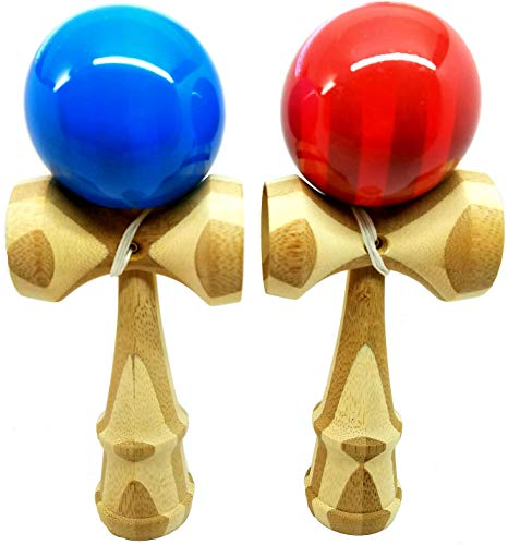 KENDAMA TOY CO. 2 PACK - The Best Kendama For All Kinds Of Fun (full size) - Awesome Colors: Blue Bamboo Red Bamboo Set - Solid Bamboo Wood - A Tool To Create Better Hand And Eye Coordination