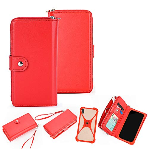 K-S-Trade 2in1 Schutzhülle Portemonnee Handy-Hülle Mit Bumper Kompatibel Mit Alcatel 1C Single SIM Schutz-Hülle Handy-Hülle Hülle Etui Geldbörse Hülle Handy Smartphone Rot (1x)