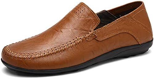 EGS-schuhe Herren Stiefel Mokassins Slip On Style OX Leder Handtailor Weißhe atmungsaktive Reine Farben Round Toe Driving Loafer,Grille Schuhe (Farbe   rotdish braun, Größe   44 EU)