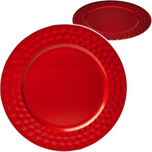 alles-meine.de GmbH 6 Stück _ große edle - XL Teller - Platzteller / Unterteller / Plätzchenteller - Ø 33 cm - rot - Glanz - Rautenmuster gehämmert - weinrot - Tablett - Metall O..