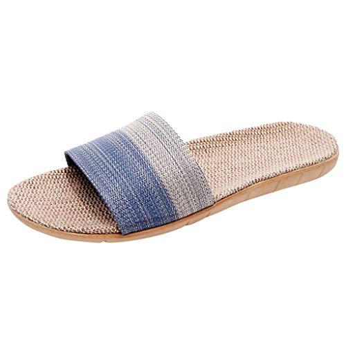 Xmiral Paare Hausschuhe Baumwolle Leinen Herren Damen Gestreifte Flip-Flops Schuhe Zuhause Sandalen(44,Blau-Herren)