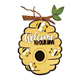 Welcome to Our Hive Sign - Wooden Bee Welcome Sign for Front Door - Honey Bee Outdoor Lawn Garden Yard Sign - Welcome Summer Sign - Rustic Sign, Farmhouse Decor Happy Bee's Day Sign (Multicolor)