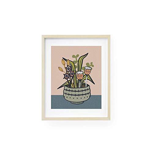 Mural Mid Century Wall Art, Arte escandinavo, Impresión escandinava, Arte de los años 60, Arte popular, Impresión botánica moderna, Arte de cocina-50X70Cmx1 Sin marco