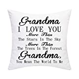 SSKBJTBDW Mother's Day Grandma I Love You Mmore and Mmore Cotton Throw Pillow Cover Case Great Festival Gift Home Decor for Sofa Bed Chair