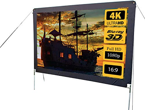 O.E.G. 144 Inch Lite (Formerly Camp Chef), 16:9 Ultra-Sharp, Silver-Infused Projector Screen with Durable, Easy Setup Aluminum Stand - Supports 4K Ultra HD and 3D