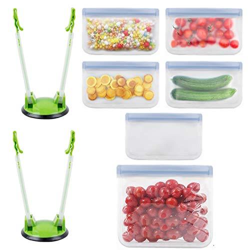 OBSGUMU Soporte de Bastidor Baggy Ajustable Original 2 Paquete, Prop Bolsas de Almacenamiento de plástico Ziploc para congelador, y 6 Bolsas de Almacenamiento de Alimentos Reutilizables para g