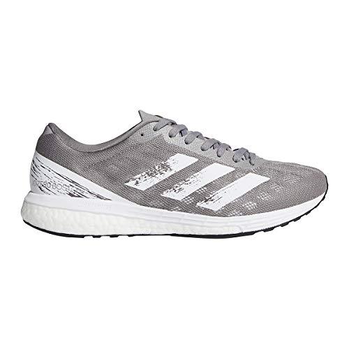 adidas Adizero Boston 9 Shoe - Men's Running Grey/White/Silver Metallic