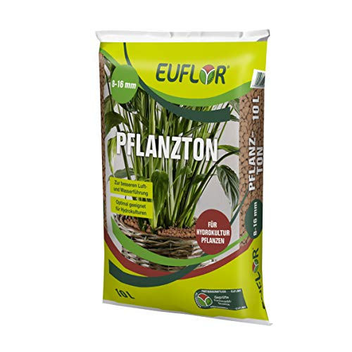 Euflor Pflanzton 8-16mm 10 Liter Sack, grobkörniges Pflanzgranulat aus natürlichem Ton, speichert Wasser und Nährstoffe