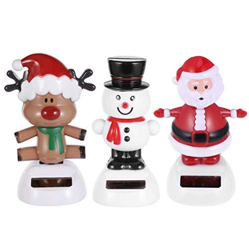MOTOULAX Figura de Navidad Solar de 3 Piezas, Decoración del Coche, Figura de Cabeza Sacudida de Muñeco de Nieve Elk Santa Claus para Escritorio del Coche Tablero de Instrumentos del Coche