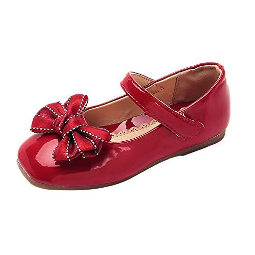 YWLINK Zapatos para NiñOs,Flores Dulces Zapatos PequeñOs Zapatos Solos Zapatos Frescos Zapatos De Princesa Zapatos De Baile Zapatos De Piel con Suela Blanda Velcro Inclinarse (Rojo, Numeric_34)