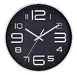 Tebery Horloge murale moderne sans tic-tac noire 30cm, pour le salon, la cuisine, le bureau