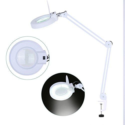 5x Lupe Tischlampe mit Kaltlicht Weiß Lampe LED Licht mit Lupe für Kosmetik,Labor und Präzisionsarbeiten con parapolvere Bianco