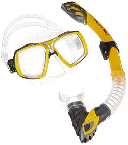 Aqua-Speed Schnorchel Set - Für Erwachsene - Tauchermaske + Schnorchel - Schnorchel Mit Easy-Adjust System - Für Pool Und Meer - #AsElea Rio, Gelb, 18