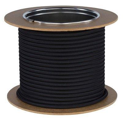 Textilkabel Stromkabel Stoffkabel Lampen-Kabel 2-adrig Pendelleitung (Schwarz)