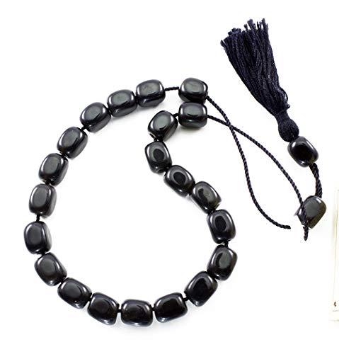 Griechische Handgefertigte Komboloi-Perlen, Obsidian, schwarze Fassform