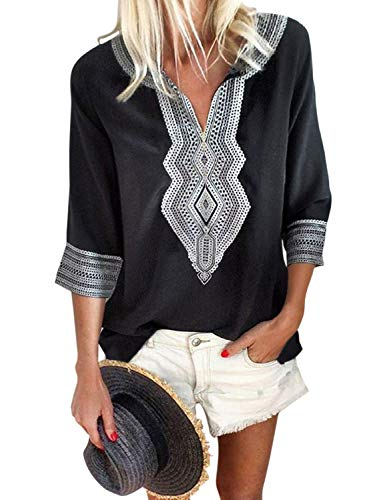 Aleumdr Women's Summer Autumn Bohemian Embroidered Tops 3 4 Sleeve V Neck Shirt Casual Blouses Black X-Large 16 18