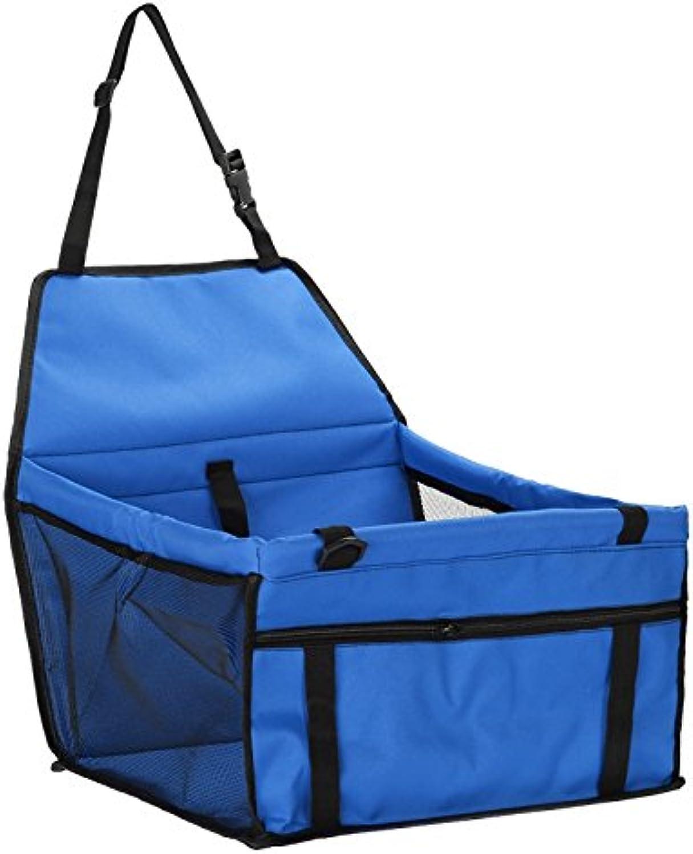 bluee Pet Dog Car Travel Mat Seat Oxford Cloth Waterproof Folding Washable Hammock Car Mat Seat Cover Bag Dog Carrying Car Safe Belt