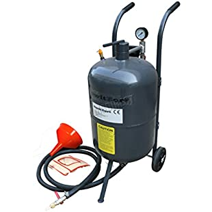 "SwitZer 10 Gallon Sandblaster Equipped With Nozzle Shut-off Valve Pressure Gauge Ceramic Nozzle 2.5m Hose Filling Funnel Watertrap 6"" Rubber Wheels and Can Vas Hood:Cnsrd"