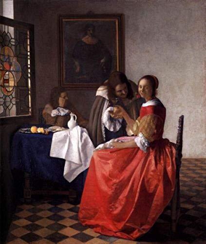 danyangshop Vermeer Mädchen Mit Weinglas ﹣ Malen Nach Zahlen Kits﹣ DIY Leinwandmalerei Für Erwachsene Anfänger - 16 X 20 Zoll (Ohne Rahmen)