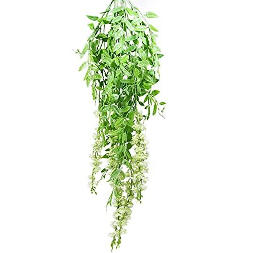 STOYRB Plantas colgantes artificiales, paquete de 2 flores colgantes de vid falsas hojas de vid, helechos, vides y flores de plástico para pared, hogar, boda, decoración para colgar, color blanco