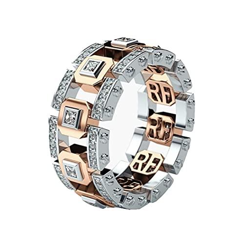 Joyería de acero inoxidable de 8 mm, anillo de joyería de diamantes, anillos para hombres, anillos para mujeres7rosegold