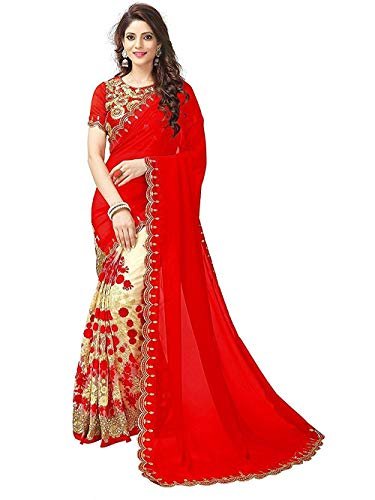 Fabrizo Women's Half Design Art Silk Kanchipuram and Georgette Embroidereda Mirror Work Replica Casual Beautiful Saree with Blouse Material for Sadi Offer Marriage(NK- HEAVY RED NWE) (Red)