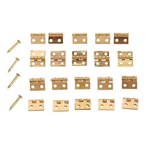 HKRSTSXJ 20pcs / Lote Mini bisagra de latón con Clavos 4 Hoyos 10x8mm Armario Decoración de Muebles Joyería de Madera Caja de la Caja del Vino